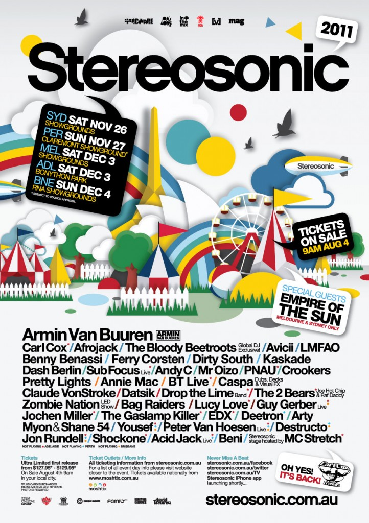 stereosonic 2011 lineup 722x1024 2 Double Passes to Stereosonic 2011 Giveaway!