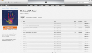 Screenshot of the new album available for pre-order on iTunes.